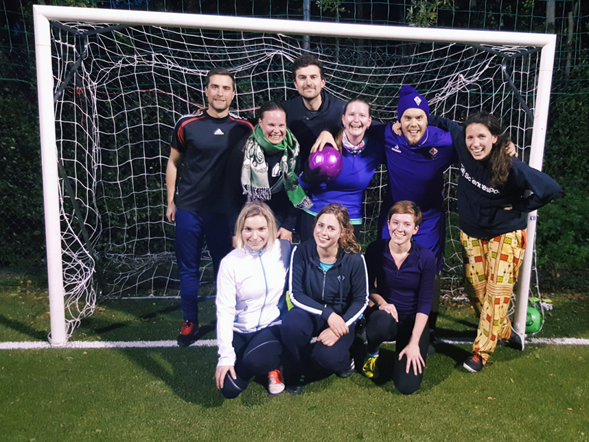 Players and coaches from the Ladies Hour Football